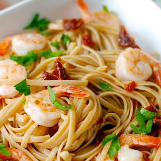 Shrimp Linguini with Garlic and Sun-Dried Tomatoes.