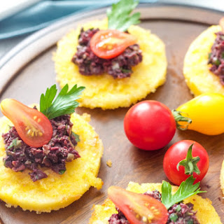 Polenta Bites With Black Olive Tapenade