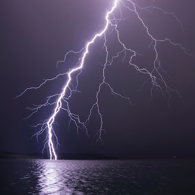 Close range lightning by Jernej Lipovec - Landscapes Weather ( thunder, adriatic, thunderstorm, waterscape, croatia, sea, landscape, storm, close, sony, lightning, mediterranean, šibenik, weather, night,  )