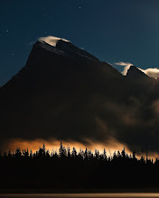 Photo: Mount Rundle, Banff by light of Full Moon