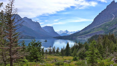 Photo: After the Tuesday hike, we drove to Many Glacier and camped there.  Here is a view of St. Mary's Lake from a construction stop.