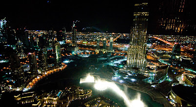 Photo: The Dubai Fountain watershow as seen from Neos bar at The Address Downtown Burj Dubai, 63rd floor at 320 meters. To see to the top of Burj Dubai, you still had to look way up =)