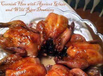Cornish Hen with Apricot Glaze &Wild Rice Dressing