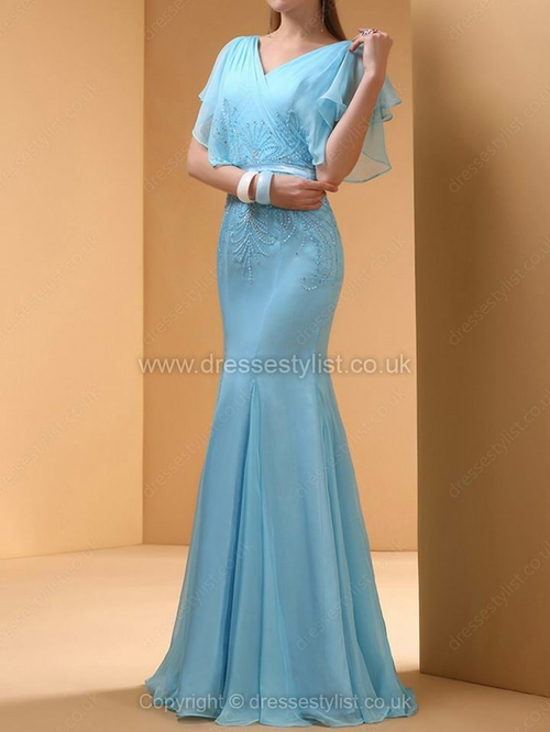 Chiffon V-neck Trumpet/Mermaid Floor-length Beading Prom Dresses #DLT02014412