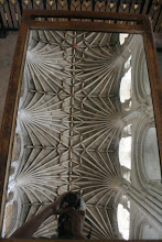 Photo: The Norwich Cathedral is most famous for the ornaments on the vault. There is a large mirror on wheels for visitors to study them closely.