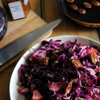 Red Cabbage Salad with Cranberries, Pecans and Maple Mustard Dressing.