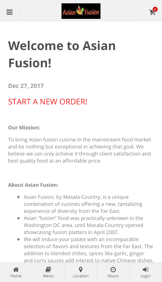 Asian Fusion Online Ordering- screenshot