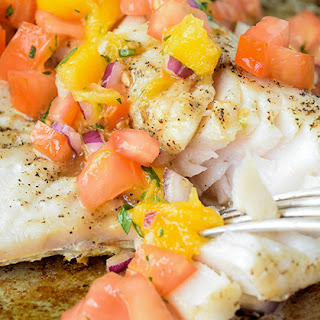 Grilled Walleye with Mango Salsa.