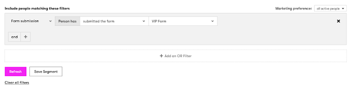 Create a segment to see who submitted your form.