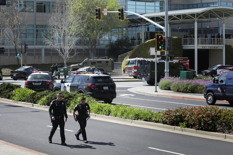 Police officers are seen at Youtube headquarters following an active shooter situation in San Bruno, California, U.S., April 3, 2018.