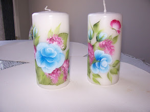 """Photo: 1004 - 1, 6"""" Candle set. Hand painted $29.00"""