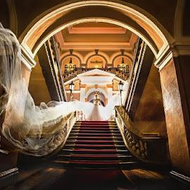 It's showtime by Vlada Jovic - Wedding Bride ( photoshop art, wedding photography, wedding, wedding dress, photoshoot, showtime, veil, bride, photography, portrait )