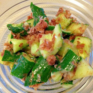 Crunchy Cucumbers with Umeboshi and Dried Bonito Flakes