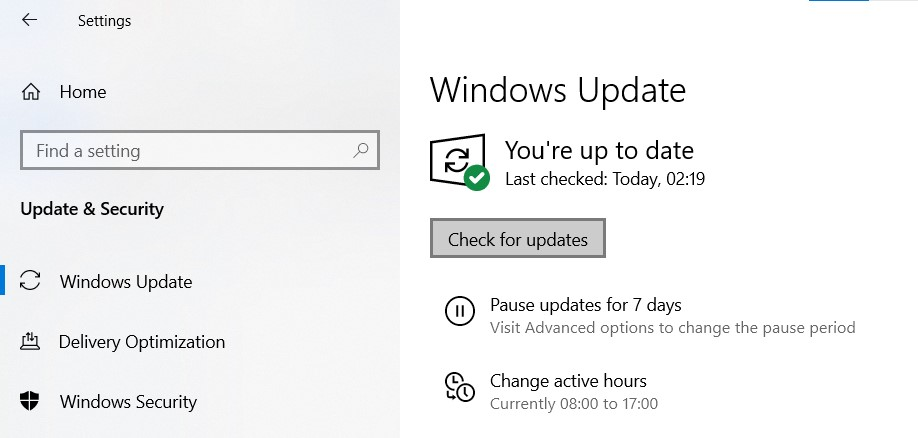 Windows Update page in the Windows Settings