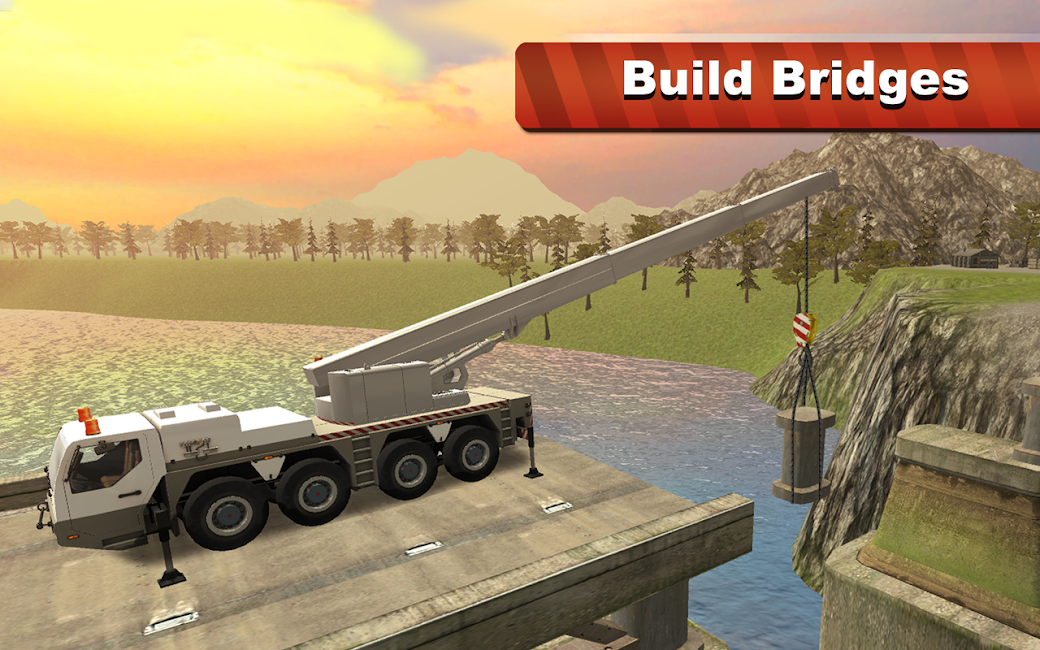#10. Bridge Construction Crane Sim (Android)