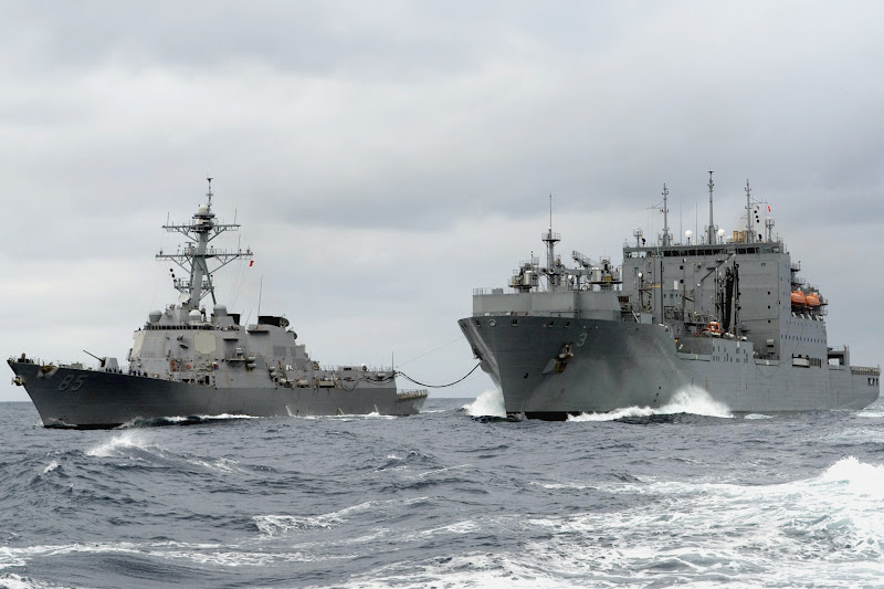 Photo: 090304-N-9123L-004PACIFIC OCEAN (March 4, 2009) Guided-missile destroyer USS McCampbell (DDG 85), conducts an underway replenishment at sea with the Military Sealift Command Dry Cargo/Ammunition ship USNS Alan Shepard (T-AKE 3). McCampbell, one of seven Arleigh Burke-class destroyers assigned to Destroyer Squadron (DESRON) 15, is permanently forward deployed to Yokosuka, Japan. (U.S. Navy photo by Mass Communication Specialist 2nd Class Byron C. Linder/Released)