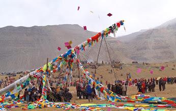 Photo: Ki ki so so lha gyalo! Raising the sacred prayer pole at Tarboche, Saga Dawa