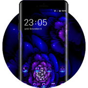 Flower theme wallpaper fractal dark blue spots icon