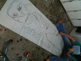 Photo: drawing 1 - blind contour full size self portrait with hand mirror
