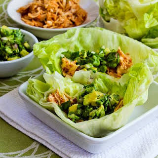 Slow Cooker Spicy Shredded Chicken Lettuce Wrap Tacos (or Tostadas) Recipe with Avocado Salsa (Low-Carb).