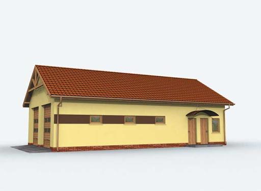 projekt G162 szkielet drewniany garaż czterostanowiskowy z pomieszczeniami gospodarczymi