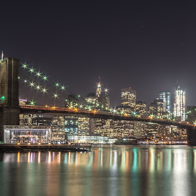 New York Skyline from Brooklyn Bridge Park by Eric Goldberg - City,  Street & Park  Skylines ( skyline, manhattan, new york, nyc, bridge, brooklyn )