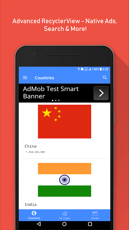 Advanced RecyclerView - Native Ads, Search & More