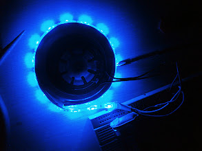 Photo: Testing the LED strip out.  I was excited to test the strip and see how it looks like. The 12V strip was powered by a 9V battery. The output is acceptable especially in low-light condition.
