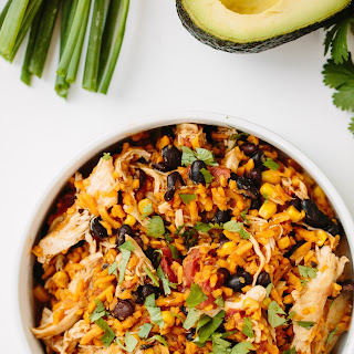 Slow Cooker Chicken Burrito Bowls with Spiralized Sweet Potato Rice.