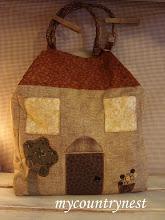 Photo: My country house bag, ispirata a modello di Born to quilt, con manici in corda e legno