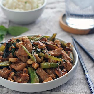 Chicken with Chinese Broccoli, Thai Basil and Cashews