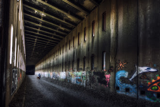 Photo: A sense of scale  As I was standing here, trying out different compositional techniques to portray this amazing, abandoned train tunnel, the one thought that kept going through my mind was, how can I best convey a sense of scale? After all, it is through scale that we can best give the viewer a frame of comparison. It wasn't until I saw +Nicole S. Youngand Kodak standing at the far end of this expanse that I knew I had found my mark.  Of course, an alternative would simply be to say, this place is farking gigantic. :)