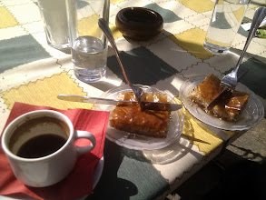 Photo: home made bakhlava and greek coffe for breakfast