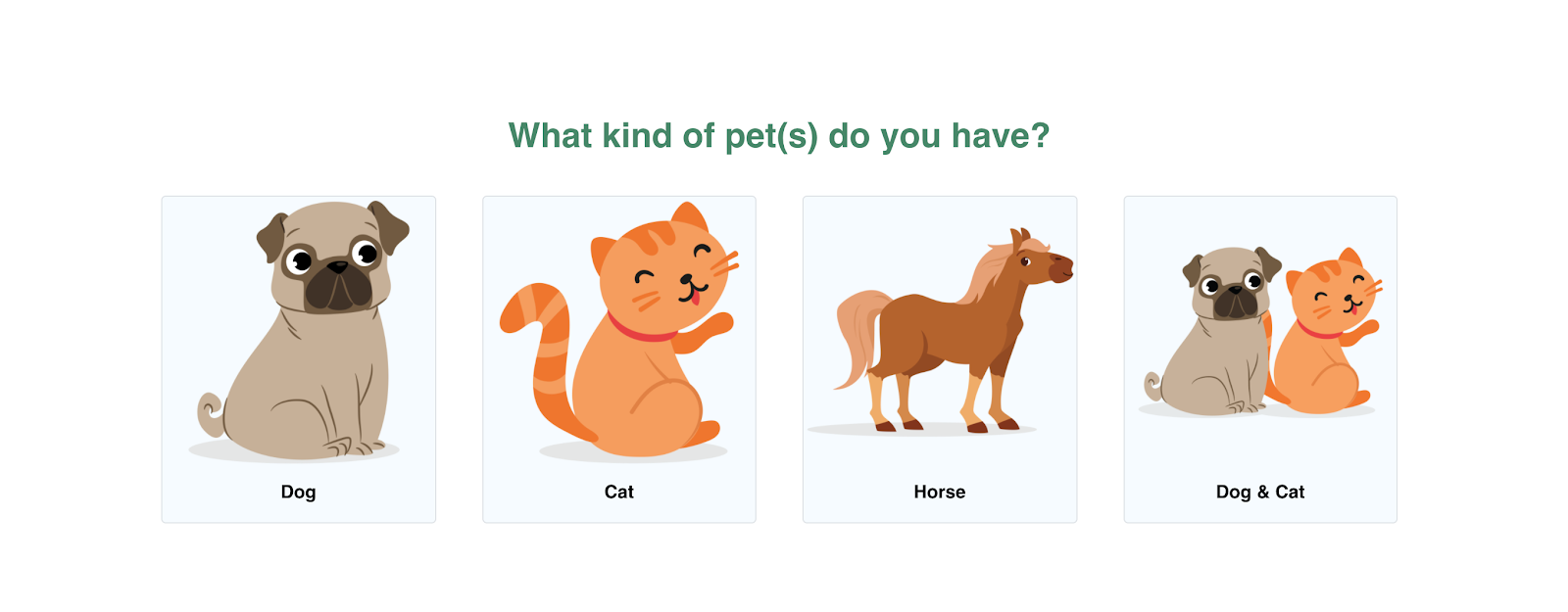 Screenshot of Bailey's CBD Pet Quiz
