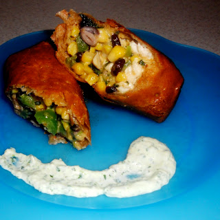Southwestern Chicken Egg Rolls with Amy's Cilantro Sauce