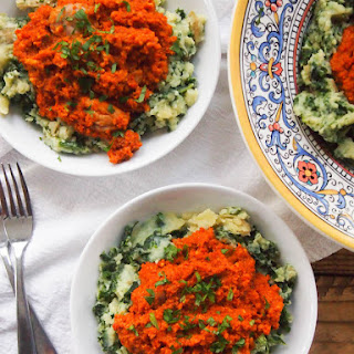 Romesco Chicken with Kale Mashed Potatoes