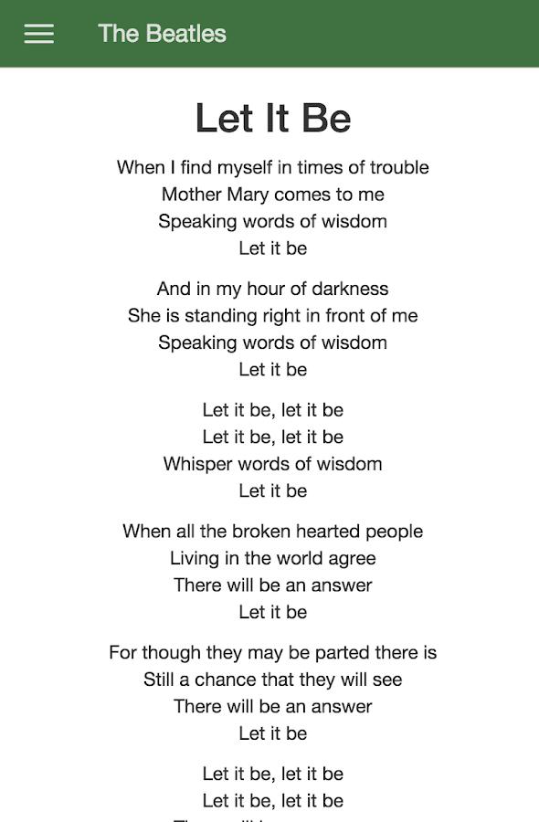 Lyric let it be the beatles lyrics : The Beatles Lyrics - Android Apps on Google Play