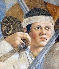 Piero della Francesca,Battaglia di Eraclio e Cosroè (particolare giovane), Basilica di San Francesco, Arezzo