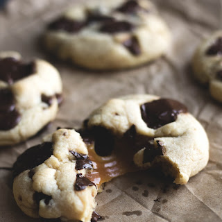 Caramel Filled Chocolate Chip Cookies.