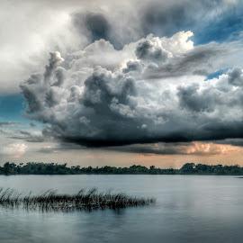 Lakeside Cloudscape by Glenn Forman - Landscapes Cloud Formations ( cloud formations, clouds, deerfield beach, sunset, twilight, sundown, cloudscape, long exposure, lake, cloud formation, dusk, boca raton )