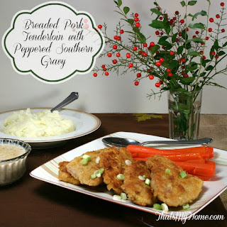 Breaded Pork Tenderloin with Peppered Southern Gravy.