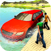 Beach Water Surfer Limousine Car Driving Simulator