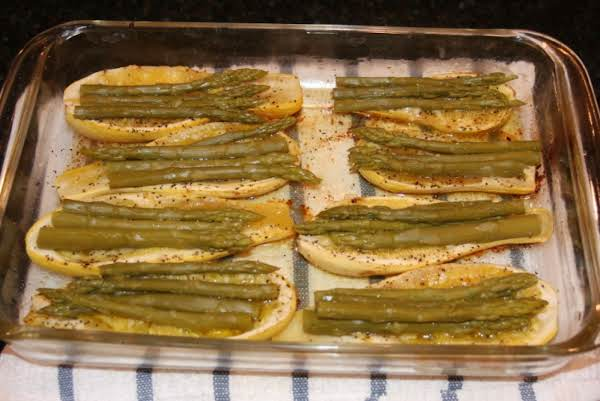 Squash, Yellow Crook Neck Baked With Asparagus