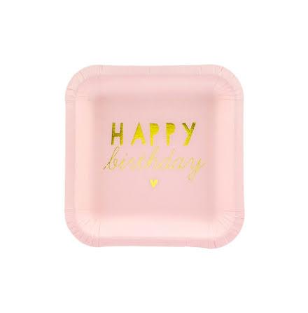 Assietter - Happy birthday, ljusrosa