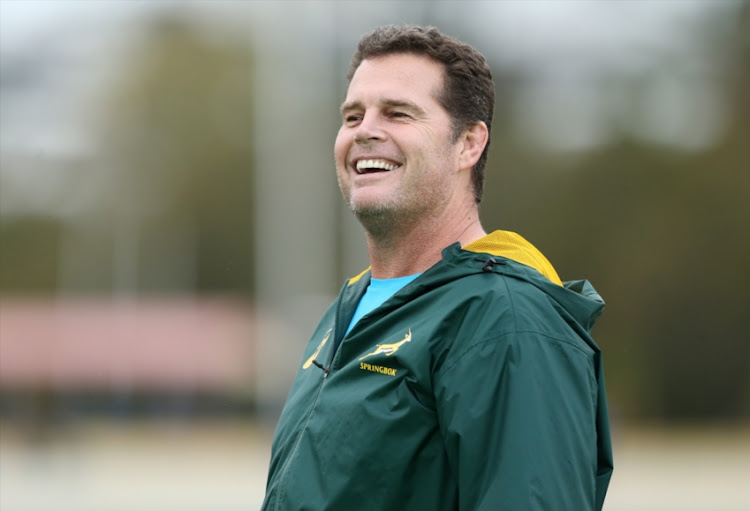 Head coach of South Africa Rassie Erasmus smiles during a South Africa Springboks Training Session at Churchie Grammar School on September 4, 2018 in Brisbane, Australia.