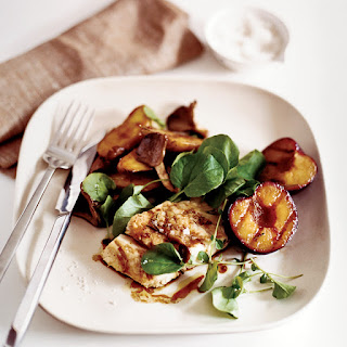 Grilled Striped Bass with Plums and Potato-Mushroom Papillotes.