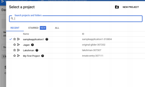 Selecting a project