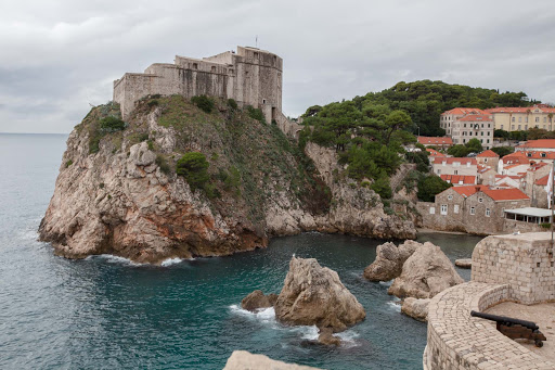 Dubrovnik-battlements-2 - The waterfront lining the battlements along history-filled Old Dubrovnik.