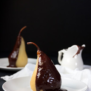 Poached Pears with Peppercorn Chai Chocolate Sauce.