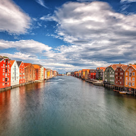 Trondheim old town by Maria Yudin - Buildings & Architecture Public & Historical ( reflection, norway, trondheim, colorful )
